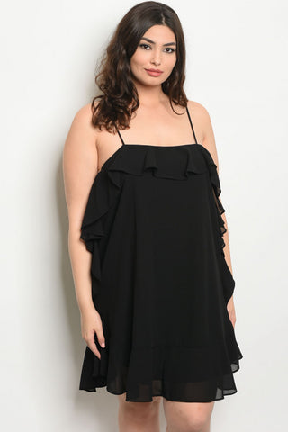 Ruffled Black Plus Size Cocktail Dress