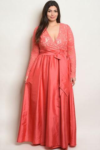 Coral Pink Lace Overlay Plus Size Taffeta Gown