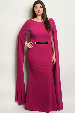 Magenta Pink Bodycon Long Plus Size Gown