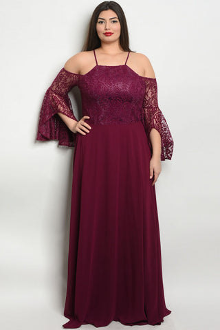 Plum Lace Bell Sleeve Plus Size Ball Gown