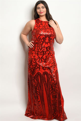 Red Sequin Plus Size Formal Gown
