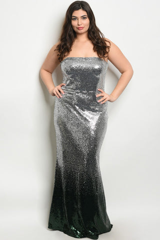 Silver and Green Sequin Strapless Plus Size Evening Gown