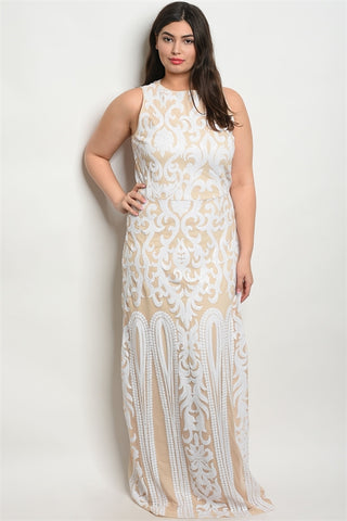 White Sequin Plus Size Formal Evening Gown