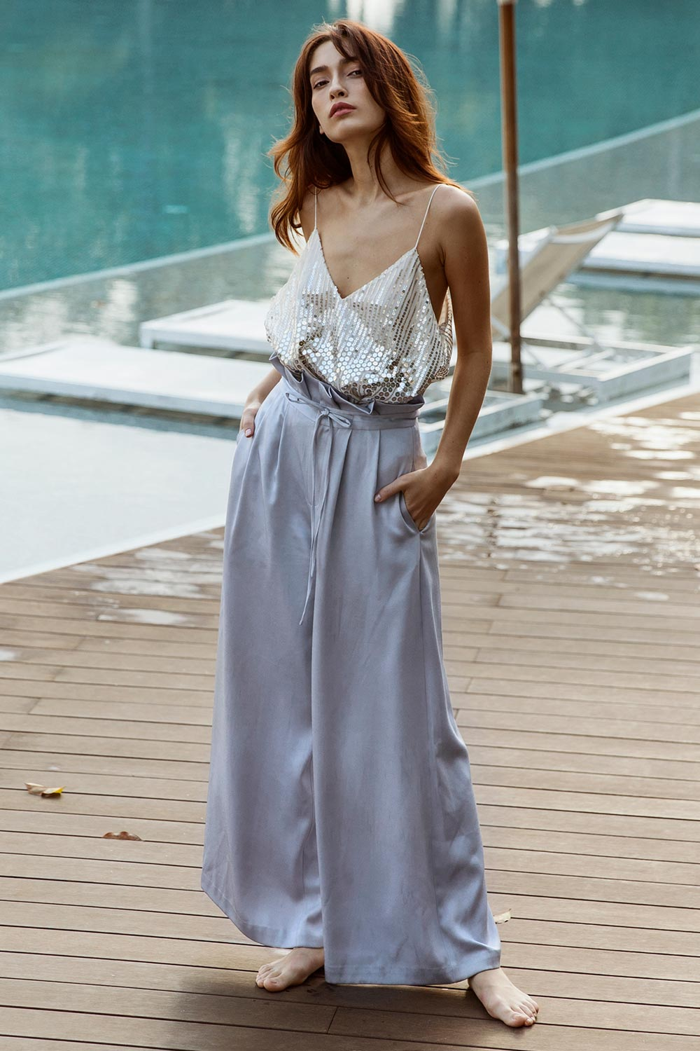 Layered Sequin Slip Top