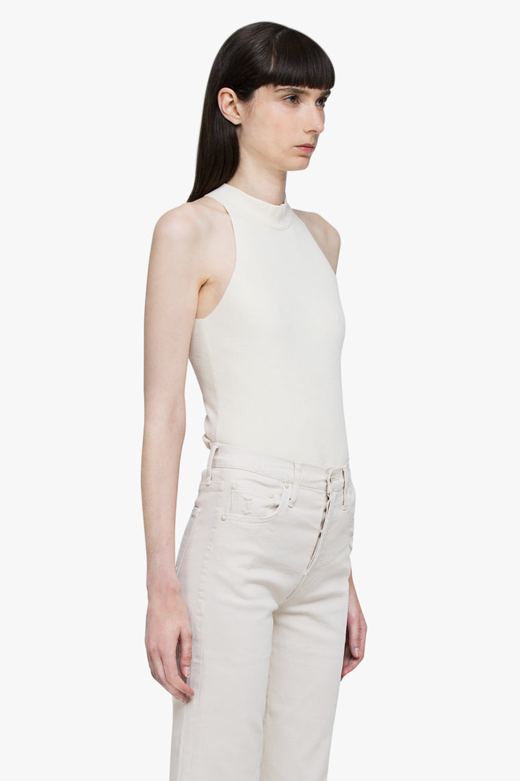 High Neck Cotton Stretch Top