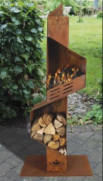 Large Outdoor Fireplace and Wood Store