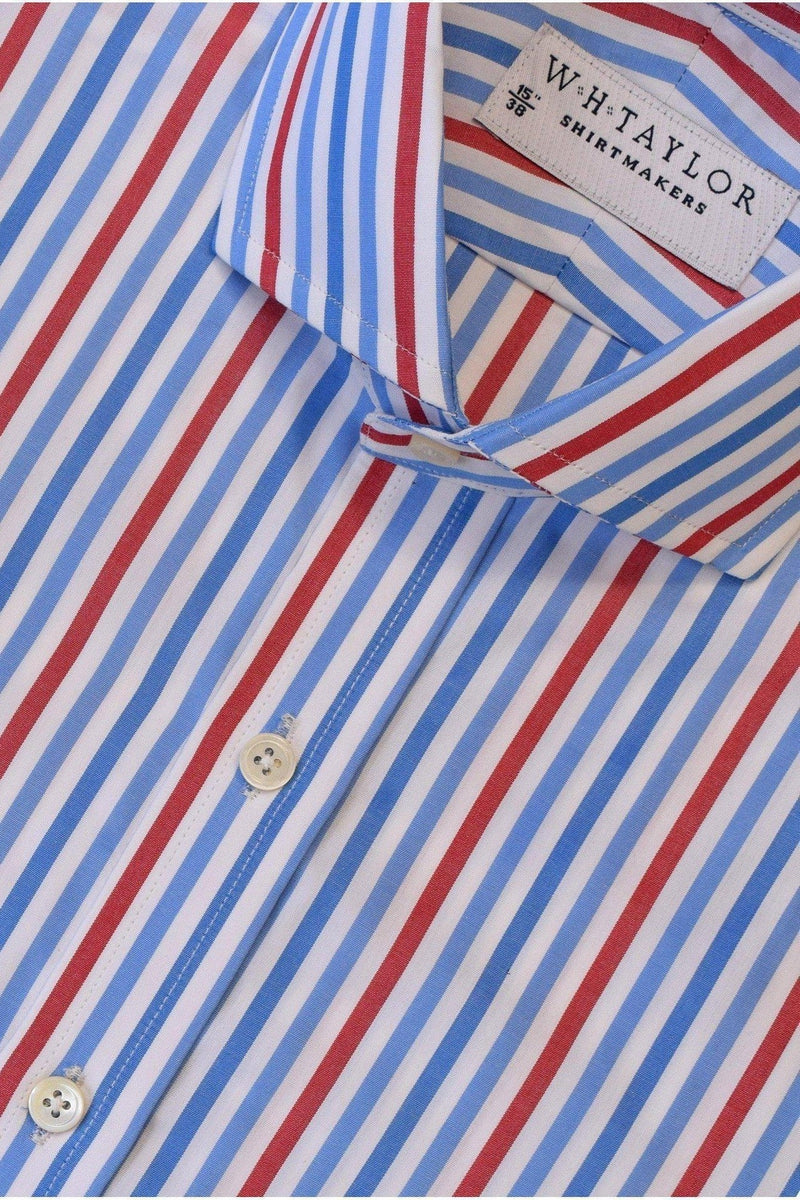 Blue, Sky, Red Large Candy Stripe Poplin Bespoke Shirt-whtshirtmakers.com