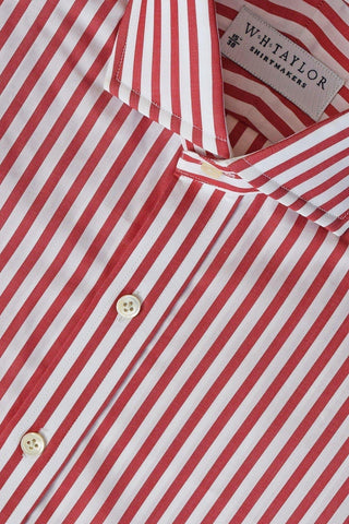 Blue, Sky, Red Large Candy Stripe Poplin Bespoke Shirt