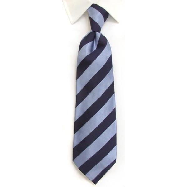 Handmade Navy & Blue Regimental Stripe Silk Tie-whtshirtmakers.com