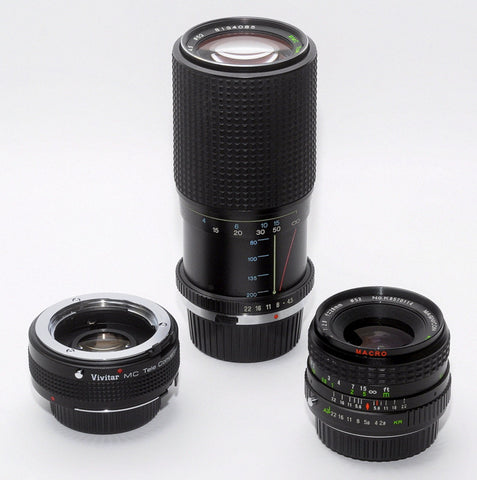 THREE LENS KIT FOR MINOLTA MD CAMERAS, 28mm WIDE-ANGLE, TELE ZOOM, 2X CONVERTER