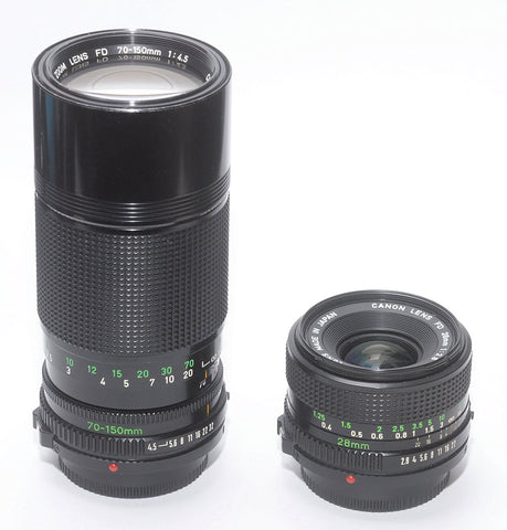 USED CANON FD SPECIAL 2 LENS KIT: 28/2.8 WIDE ANGLE and 70-150mm ZOOM