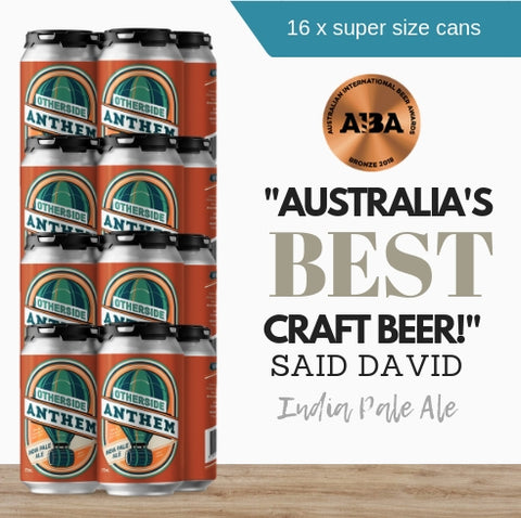 16x generous environmental-friendly 375ml award-winning Anthem Indian Pale Ale by Australia's Otherside Brewing brought to you by Pop Up Wine Singapore.  Fast same day delivery Order online now.