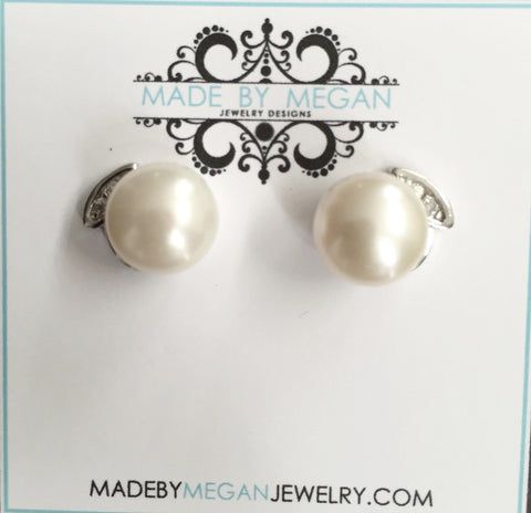 White Freshwater Pearl Studs (9-10mm) on Sterling Silver Posts