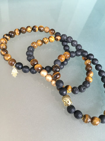 Tigers Eye & Agate Gemstone- Protection Stacking Bracelet Three Piece Combo
