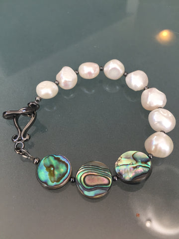 Abalone and White Freshwater Pearl Bracelet - Toggle Clasp Closure - Circle Edition