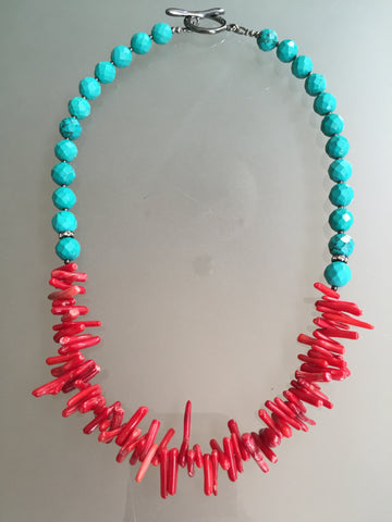 Marissa Necklace - Turquoise and Red Coral Statement Necklace