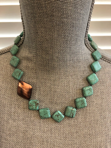 Copper & Turquoise Statement Necklace - turquoise howlite gemstone statement necklace
