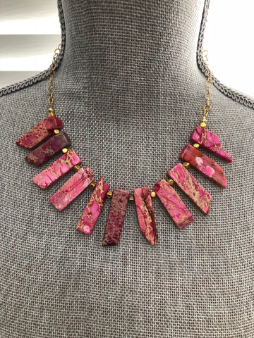 Lauren Necklace -  Pink Howlite Gemstone Statement Bib Necklace