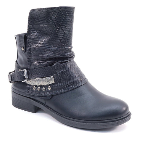 Fold Over Flap Biker Moto Bootie Women's Boots Vegan Leather