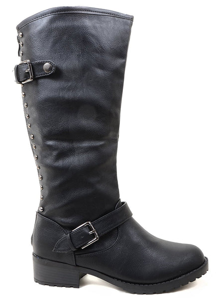 4everfunky Studded Buckle Riding Knee Vegan Leather Women's Boot
