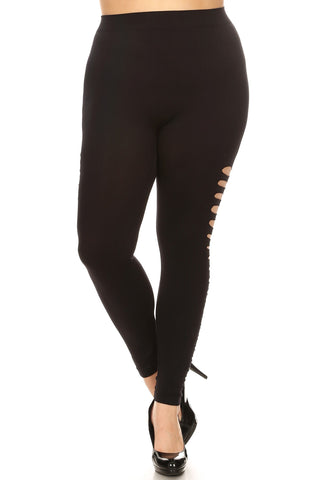 Side Ripped Full Length Womens Basic Plus Size Leggings Black