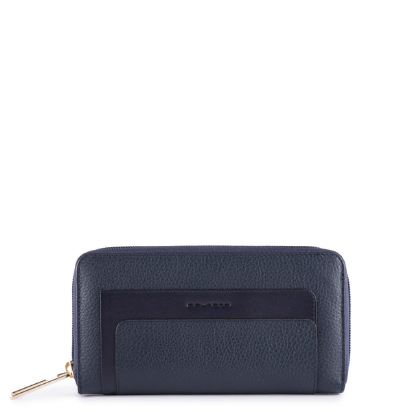 Zip-around women's wallet with four dividers