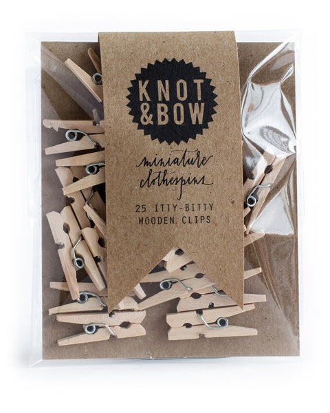 Knot & Bow 25 Miniature Wooden Clothespins