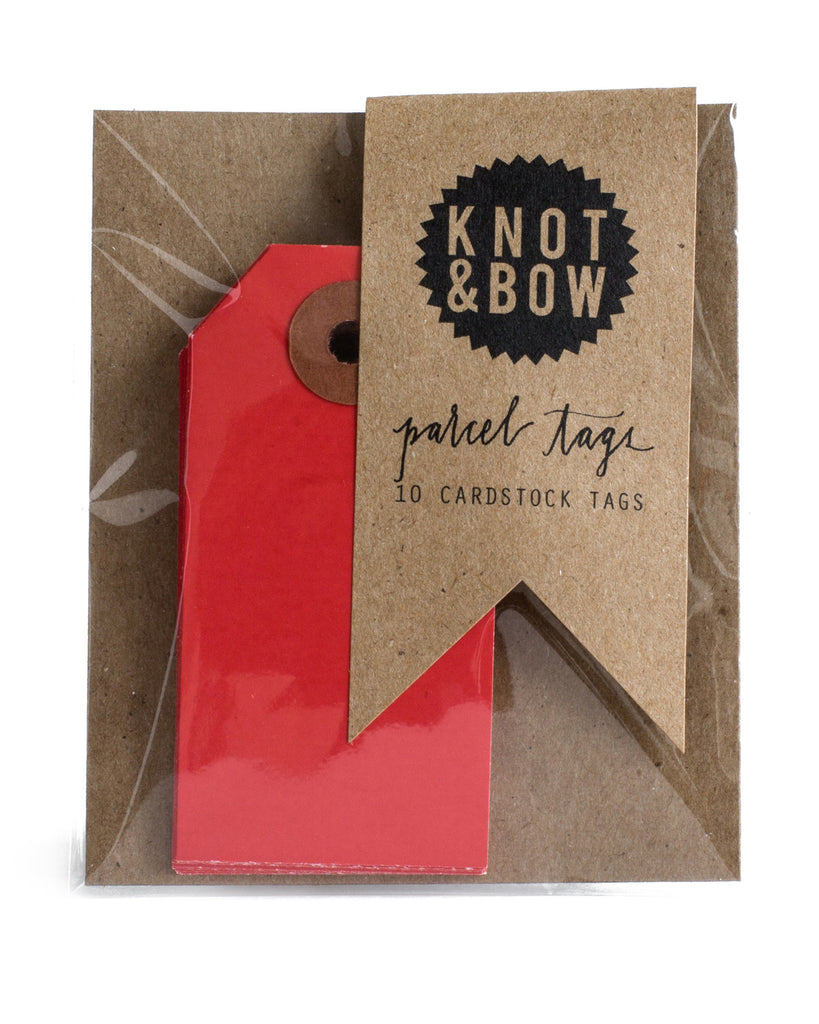 Knot & Bow Parcel Tags Red