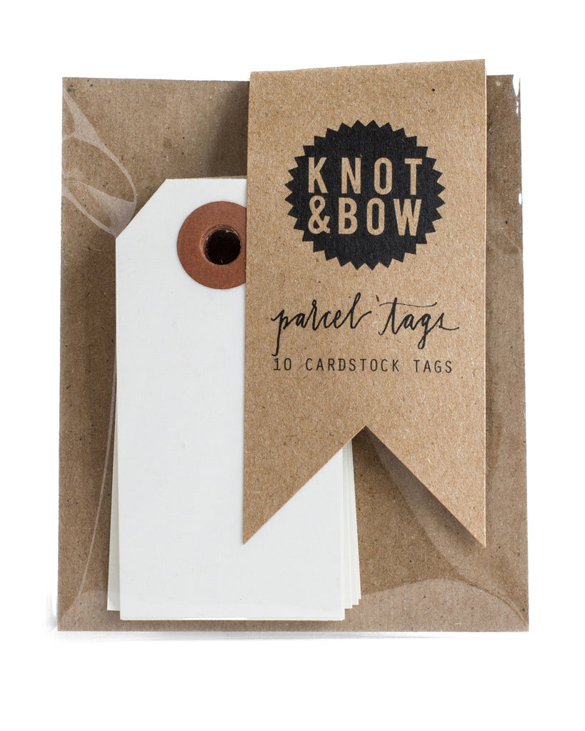 Knot & Bow Parcel Tags White