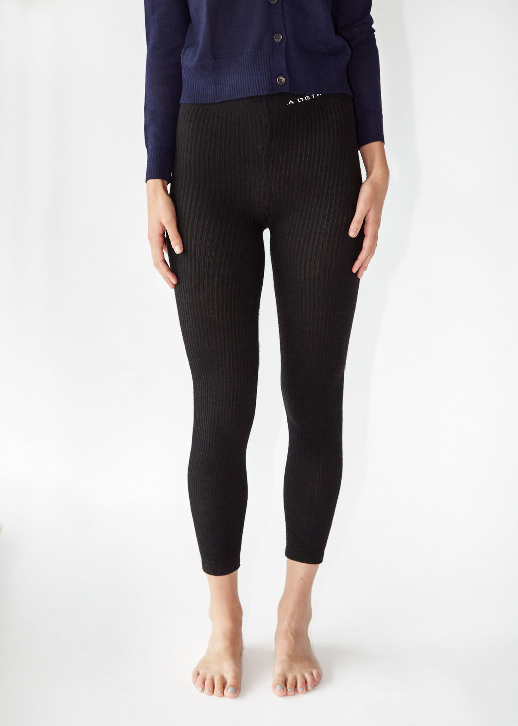Ribbed Knit Leggings in Black Alpaca