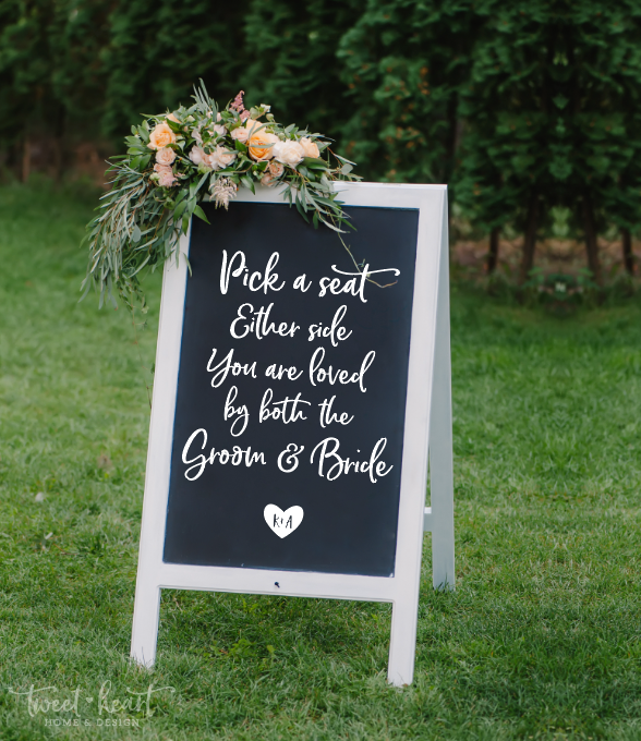 Personalized Pick a Seat Wedding Decal