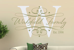 Family Name Decal Set - Elegant Scroll