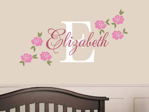 Rose Name Decal - Custom Vinyl Decal - Girl Nursery Children