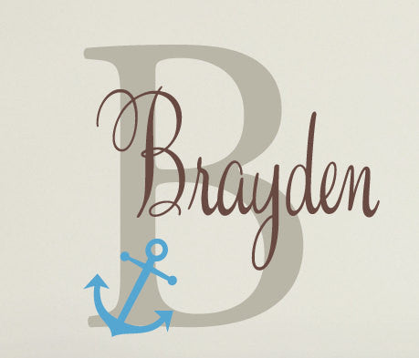 Name Decal with Large Monogram and Anchor
