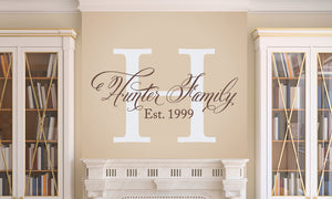 Elegant Family Name Wall Decal Set