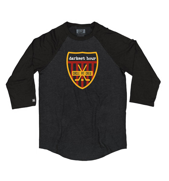 DARKEST HOUR 'PIT CREW' hockey raglan t-shirt in black heather with black sleeves