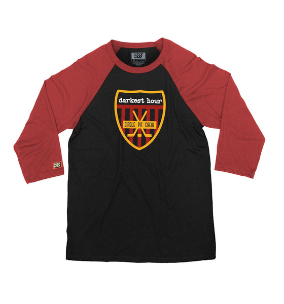 DARKEST HOUR 'PIT CREW' hockey raglan t-shirt in black with red sleeves