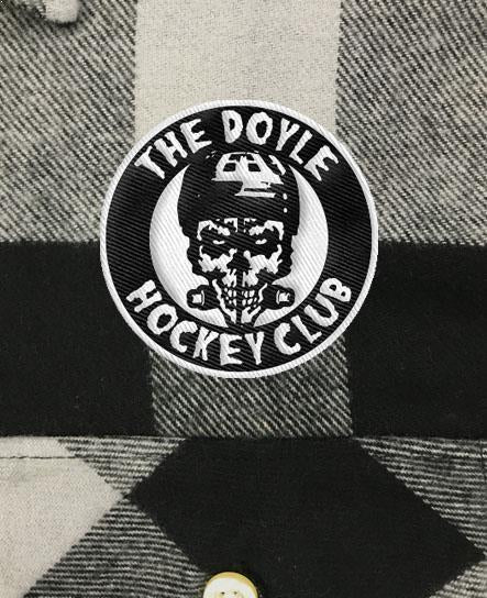 DOYLE 'THE DHC' hockey flannel in grey plaid patch close up