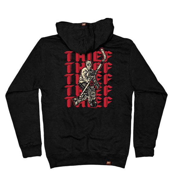 PUCK HCKY 'THIEF' pullover hockey hoodie in black back view