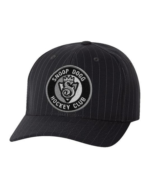 SNOOP DOGG 'THE KING' pinstripe hockey cap in black with white stripes