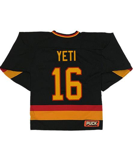 ALL HAIL THE YETI 'SASQUATCH SKATE' hockey jersey in black, gold, and red back view with number 16