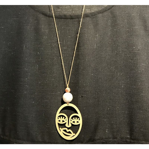 picasso face necklace