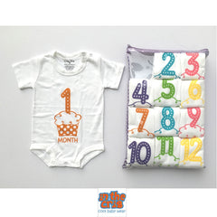 Onesie Month Cupcake Set