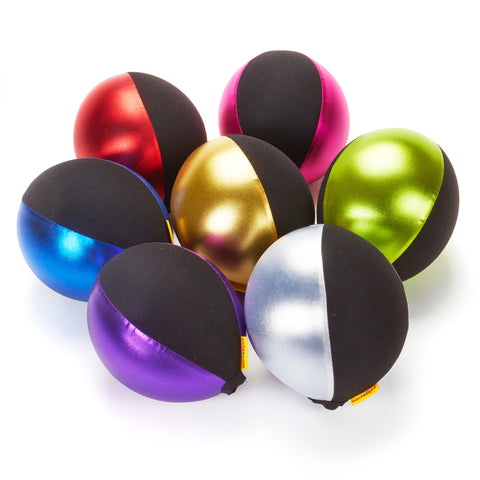 Balloon Balls. Bright, stretchy covers which turn balloons into excellent coaching aids for young children.