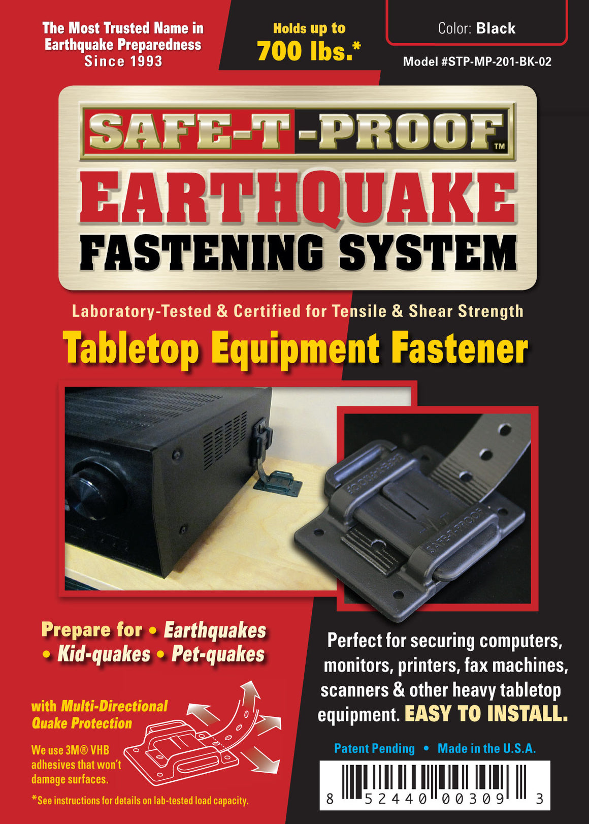 SAFE-T-PROOF Tabletop Equipment | Fastening System