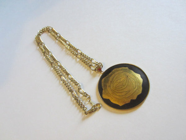 Amita Damascene Flower Bamboo Pendant Gold 12 K Gold Plated Chain