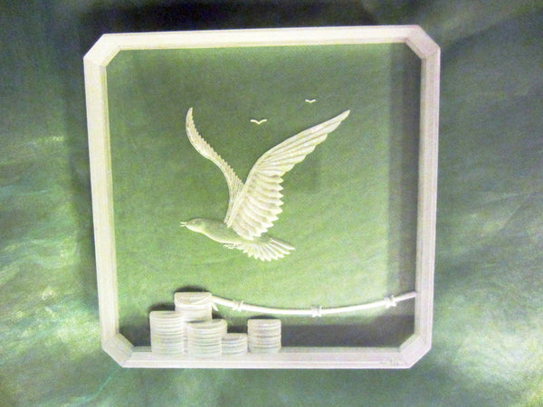 Acrylic Plaque Flying Eagle Mid Century Modern Art - Designer Unique Finds