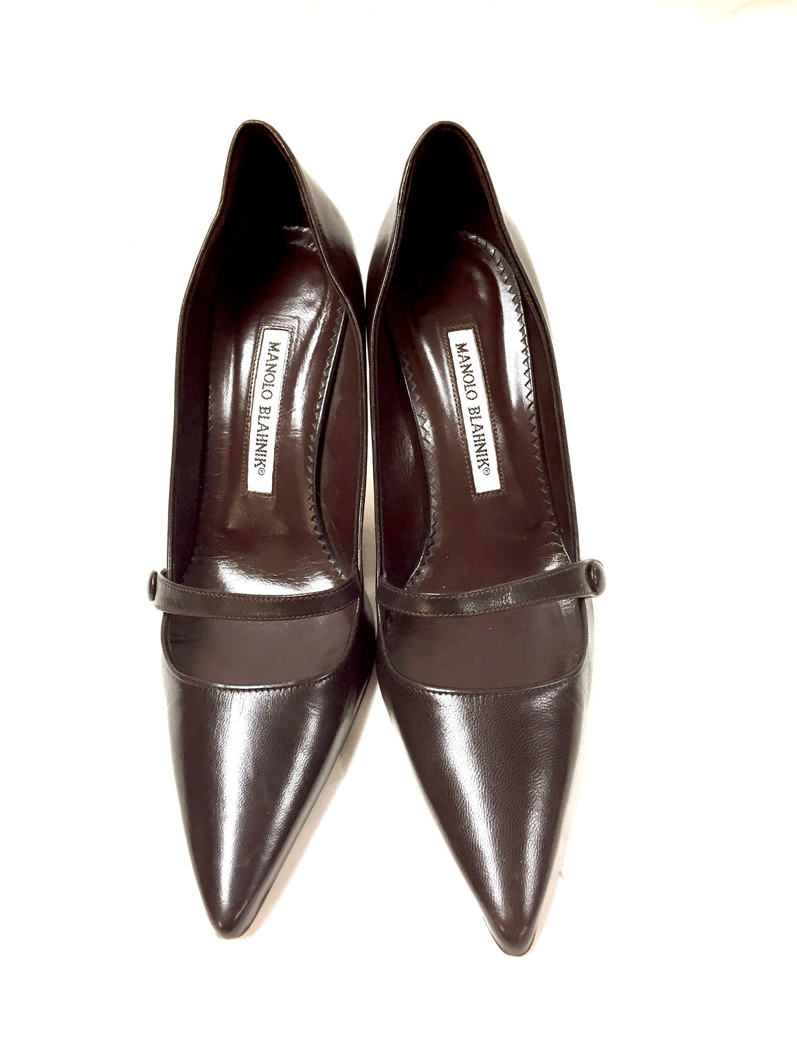 MANOLO BLAHNIK Brown Leather Mary Jane Heels Pumps Size: 38.5 / US 8.5