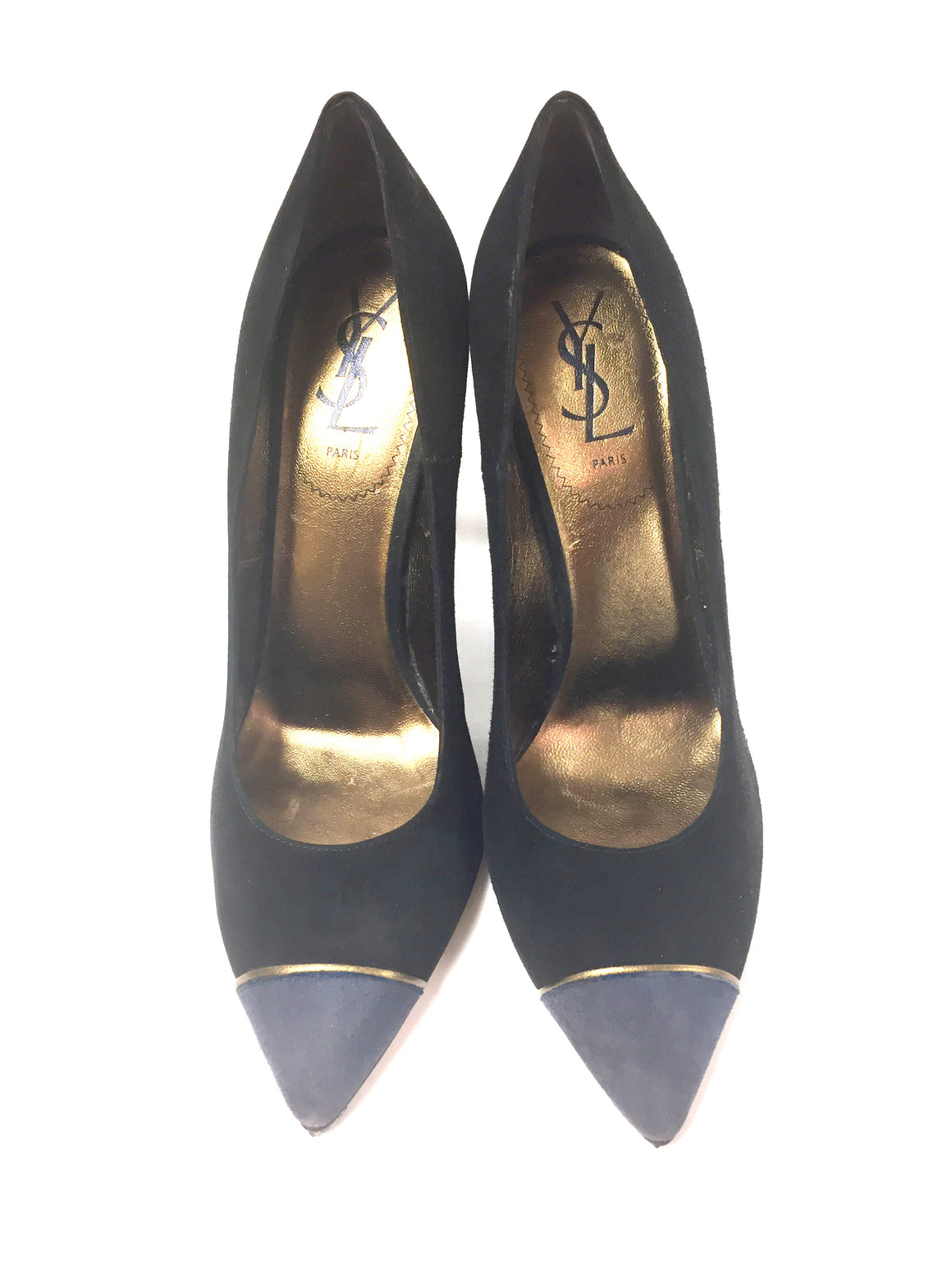 YVES ST. LAURENT - YSL  Vintage - New Black Suede Gray Cap-Toe Hi-Heel Pumps  Size: EU 38.5  / US 8