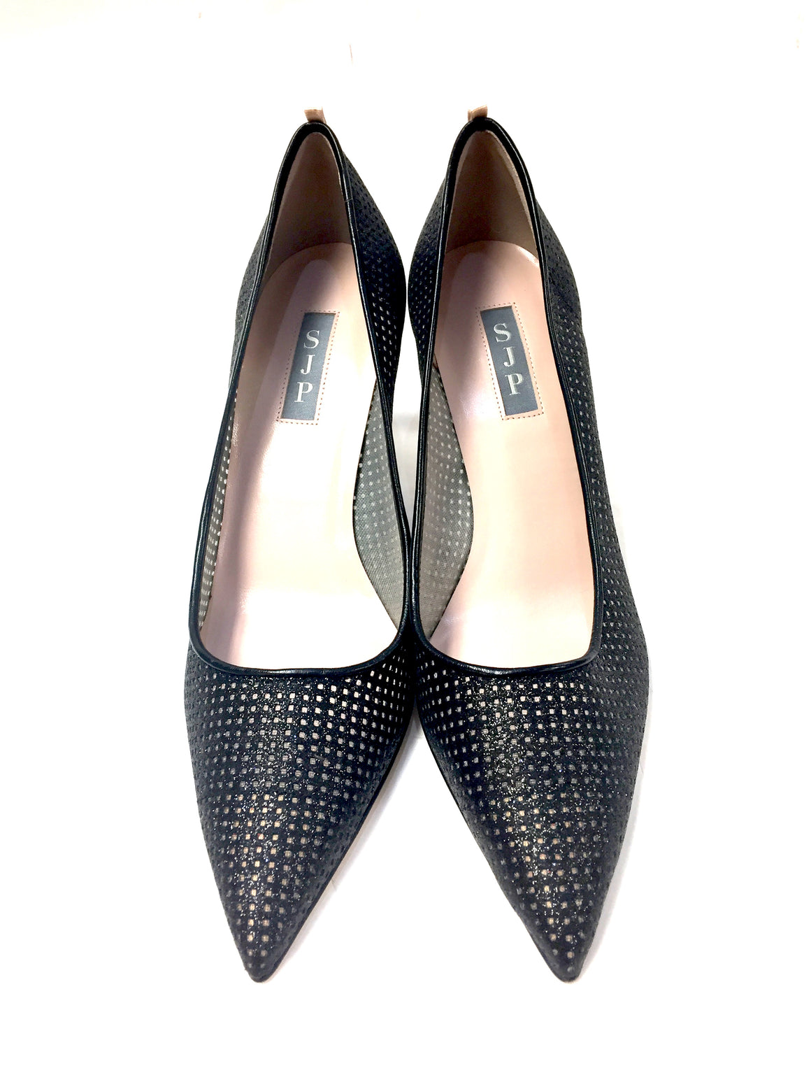 SARAH JESSICA PARKER - SJP New Black Fishnet Pointed Toe Hi-Heel Pumps Shoes Size: EU40 / US 9.5